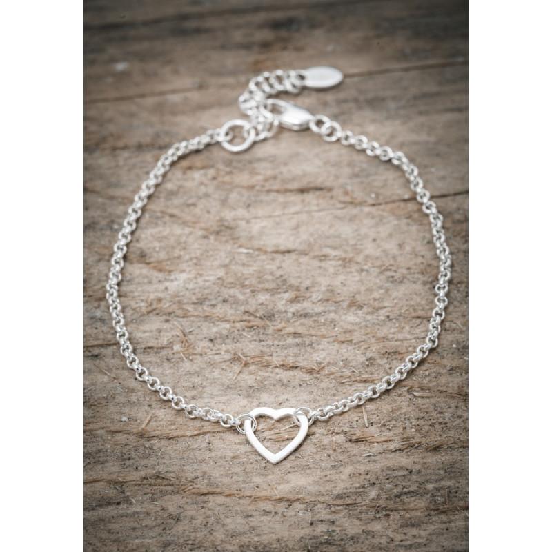 Silverarmband hjärta