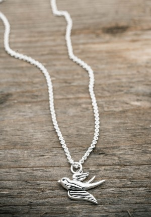 Silver necklace swallow