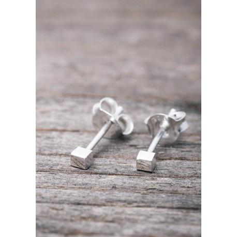 Silverörhänge mini kub