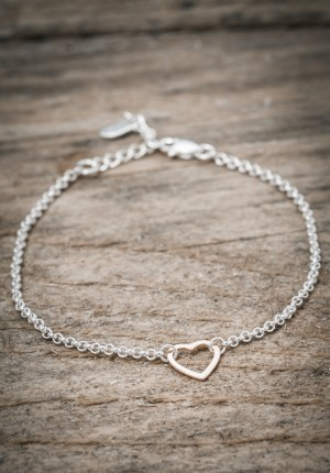 Silver bracelet rose gold heart