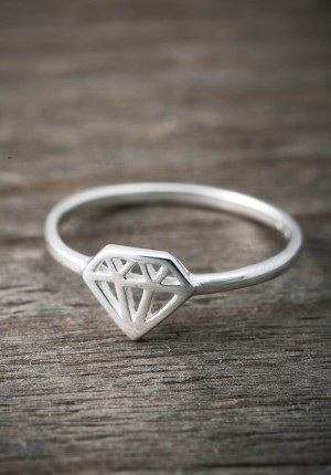 Silverring diamant