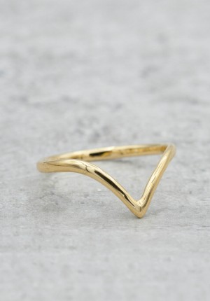 Gold plated ring V-shaped