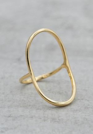Gold plated ring big oval