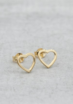 Gold earrings heart