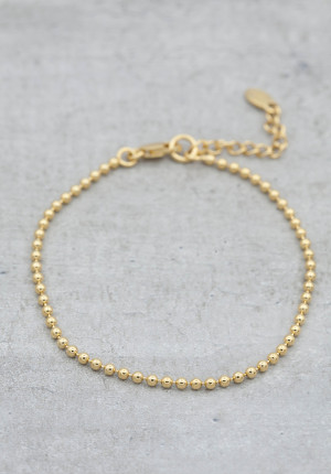 Gold plated bracelet ball chain thin
