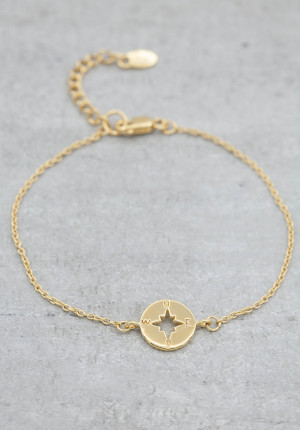 Gold plated bracelet kompass
