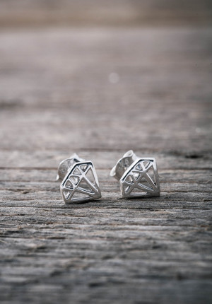 Silver earrings diamond