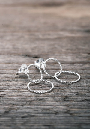 Silver earrings with twisted rings