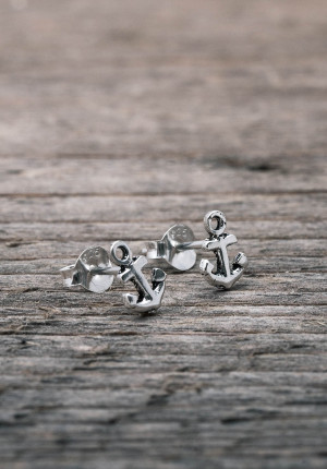 Silver earrings mini anchor