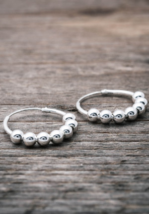 Silver earrings with silver balls