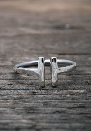 Silver ring with bars