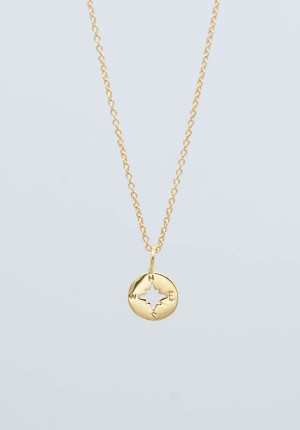 Gold plated necklace compass