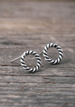 Silver earrings small twisted circle
