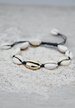 Seashell anklet black