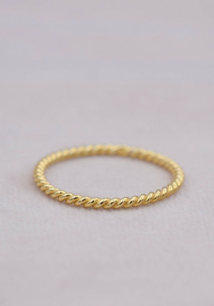 Gold plated ring twisted