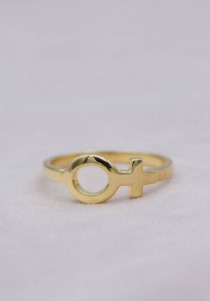 Gold plated ring female sign