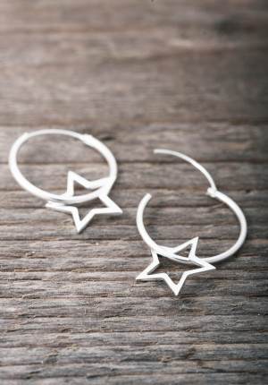 Silver earrings creole with big  star