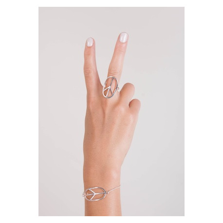 Silverring stor peace-oval