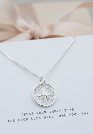 Silver necklace lucky coin star