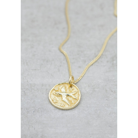 Gold necklace lucky coin swallow