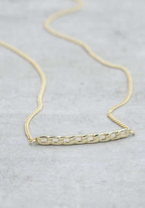 Gold necklace chain bar