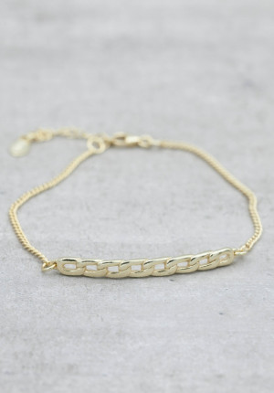 Gold plated bracelet chain bar