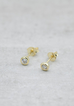Gold plated earrings c/z stone