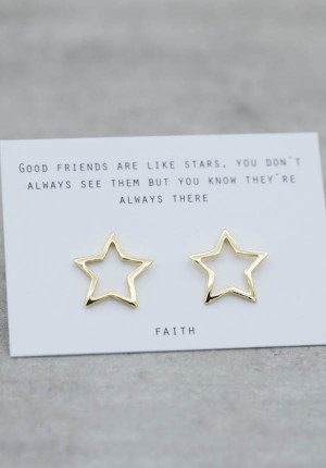 Gold earrings contour star