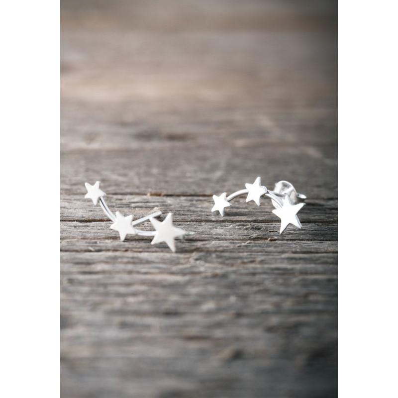Silverörhängen tre stjärnor