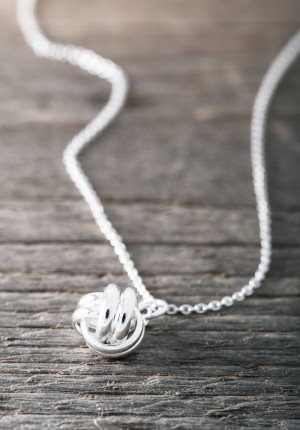 Silver necklace round knot