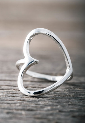 Silver ring big open heart