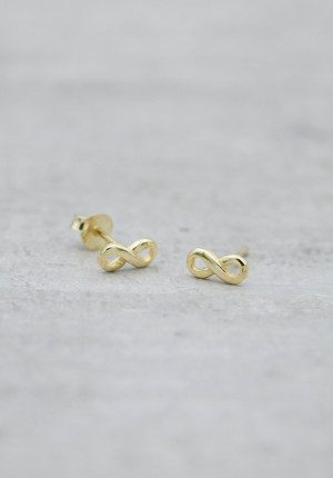 Gold earrings small infinity