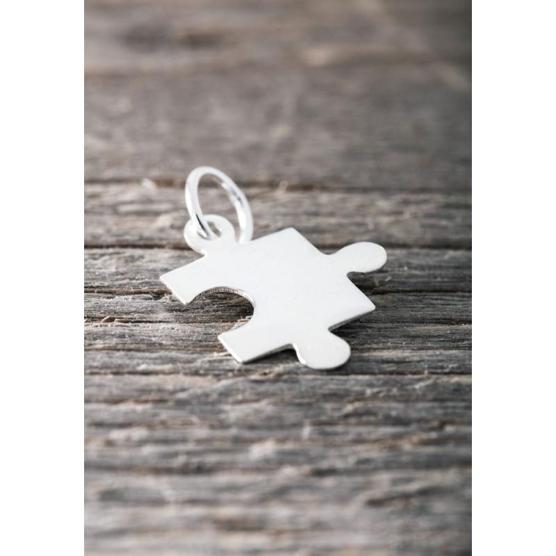 Silver pendent big puzzel piece