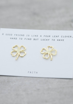 Gold earrings contour four leaf clover