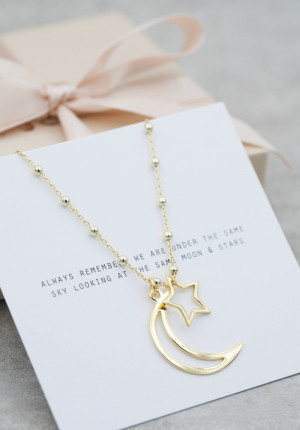 Gold necklace star and moon
